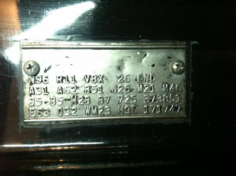 Super Bee Fender Tag Help Decipher For B Bodies Only