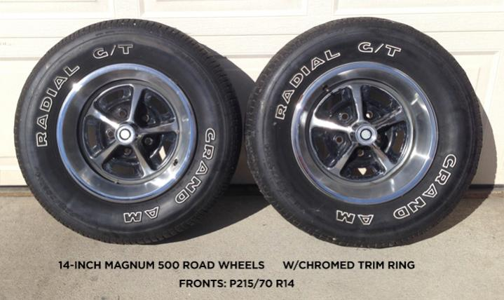 Magnum 500 Wheels >> SOLD - 14-inch MAGNUM 500 ROAD WHEELs w/Chromed trim ring - $425 | For B Bodies Only Classic ...
