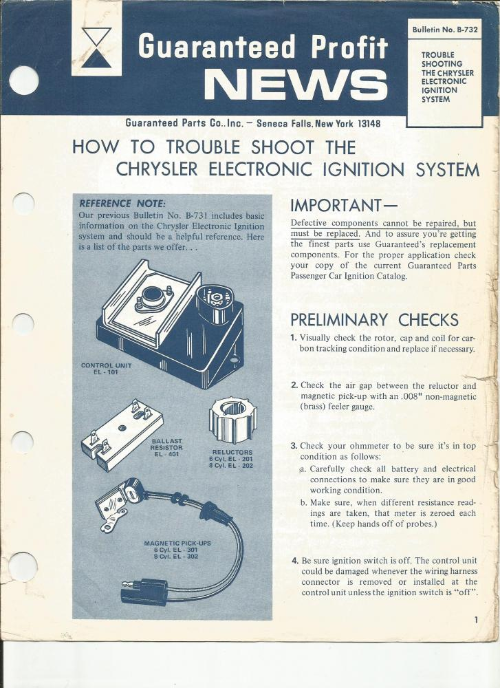 chrysler electronic ignition user manuals