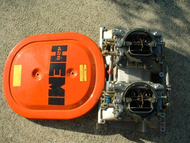 Hemi Air Cleaner : Sold hemi dual carb intake manifold w carbs air
