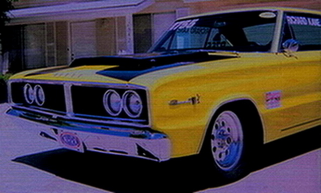 1966 Coronet 500 - drivers side front fender and hood scoop and new front tires - May 2006.jpg