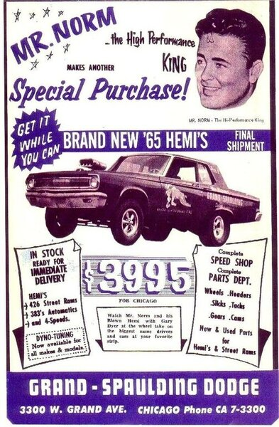 65 Coronet A990 SS Mr. Norm's $3995 sales advert. #1.jpg