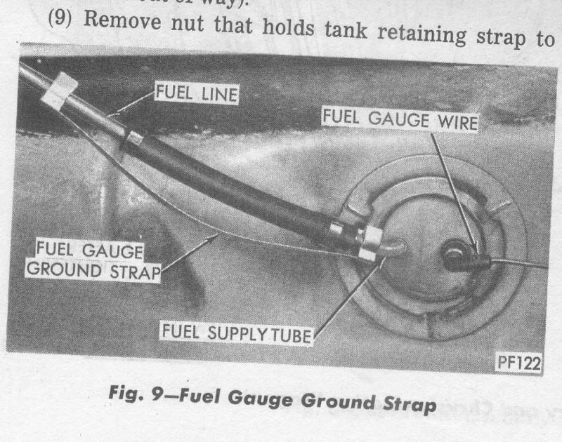 fuel tank sending unit fuel gauge ground strap For B