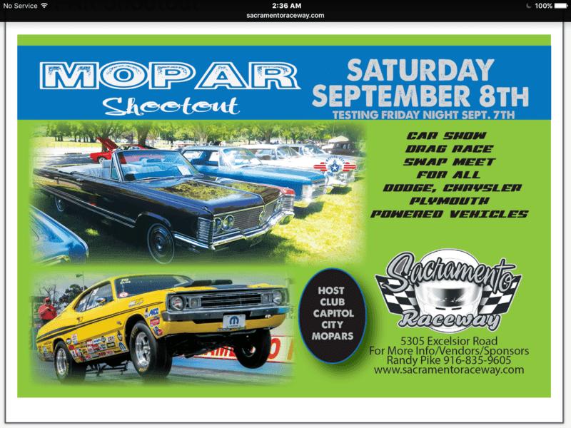 Mopar Shootout Sacramento Raceway CA On September For B - Sacramento car show and swap meet