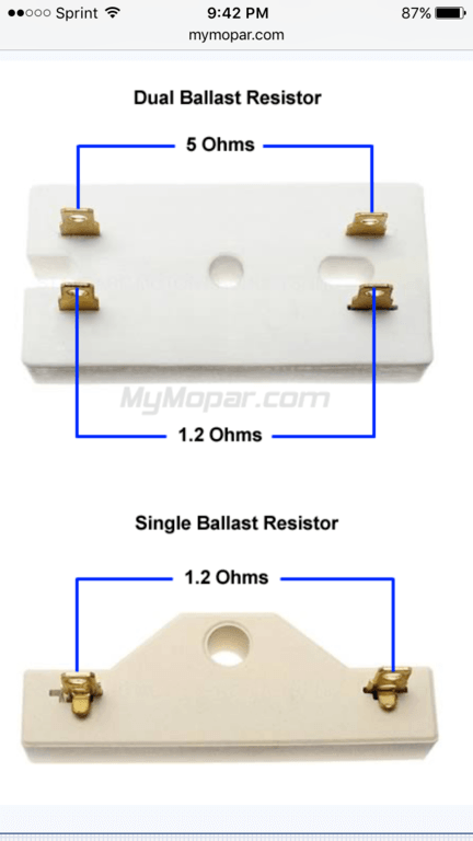 How To Test A Ballast >> Ballast Resistor Testing For B Bodies Only Classic Mopar Forum